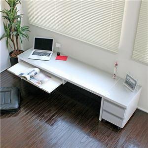 パソコンデスク デスク スライド テーブル ローデスク 鏡面仕上げ ロータイプ 150cm幅 2点セット シルバー&ホワイト ロータイプ ロー l字型 おしゃれ 木製 - 拡大画像