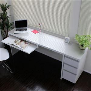 パソコンデスク 書斎机 スライド テーブル パソコンデスク 鏡面仕上げ ハイタイプ 150cm幅 2点セット シルバー&ホワイト - 拡大画像
