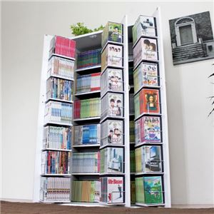 DVD収納 コミック収納 マンガ収納 漫画収納 DVDラック DVD収納ラック DVD 本棚 書棚ストッカー ホワイト 日本製 大容量 木製 - 拡大画像