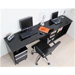 パソコンデスク デスク コーナーデスク L字型 高級ブラック鏡面 最大210cm幅 ハイタイプ 3点セット デスク+書棚+チェストpcデスク