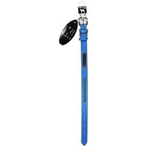 (お徳用 2セット) ドギーマン 本皮手縫い平首輪 21mm ブルー MD5094 ×2セット - 拡大画像