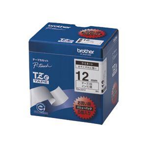ブラザー BROTHER ピータッチ TZeテープ ラミネートテープ 12mm 白/黒文字 業務用パック TZE-231V 1パック(5個)