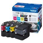 (まとめ) ブラザー BROTHER インクカートリッジ お徳用 4色 大容量 LC119/115-4PK 1箱(4個:各色1個) 【×3セット】