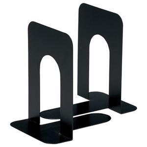 (まとめ) TANOSEE ブックエンド T型 大 ブラック 1組(2枚) 【×10セット】