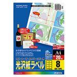 コクヨ カラーレーザー&カラーコピー用光沢紙ラベル A4 8面 65×95mm LBP-G6908 1セット(100シート:20シート×5冊)