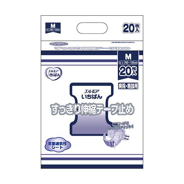 カミ商事 エルモア いちばんすっきり伸縮テープ止め M 1セット(80枚:20枚×4パック)