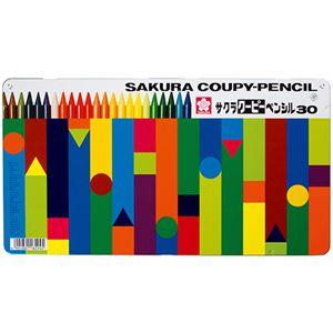 (まとめ)サクラクレパス クーピーペンシル30色(各色 1本)缶入 FY30 1缶【×2セット】 - 拡大画像