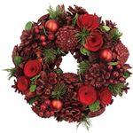 (まとめ)函館クリスマスファクトリーナチュラルローズ&ボールリース レッド 26cm 1個【×5セット】