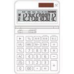 (まとめ)AURORA 中型電卓 12桁卓上タイプ ホワイト DT700TXW 1台【×5セット】