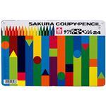 (まとめ)サクラクレパス クーピーペンシル24色(缶入)FY24 1パック【×5セット】