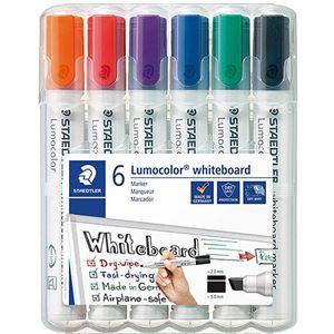 (まとめ)ステッドラー ルモカラーホワイトボードマーカー 角芯 6色(各色 1本)351BWP6 1パック【×5セット】 - 拡大画像