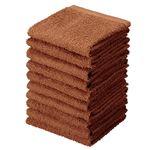 (まとめ)アイ・フィット おしぼりタオル ブラウンHT-BR10 1パック(10枚)【×10セット】