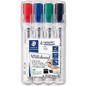 (まとめ)ステッドラー ルモカラーホワイトボードマーカー 角芯 4色(各色 1本)351 B WP4 1パック【×10セット】 - 拡大画像