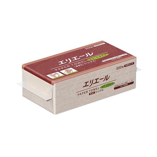 (まとめ)大王製紙 エリエールペーパータオルスマートタイプ 無漂白シングル 中判 200枚 1パック【×30セット】