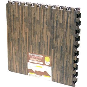 (まとめ)水勘製簾所 ビッグサイズ 木目調マット サイドパーツ付 ブラウン 1パック(4枚) 【×3セット】 - 拡大画像