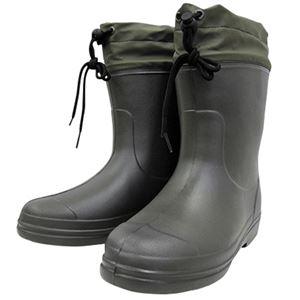 (まとめ)ミタニコーポレーション 長靴 ホッパーショート カーキ Mサイズ(25.0〜26.0cm) 214281 1足 【×3セット】 - 拡大画像