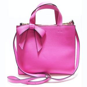 柔らか素材の仕切り付リボントートバッグ/ピンク - 拡大画像