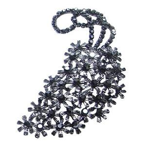 大きなアンティーク花束ブローチ/ブラック - 拡大画像