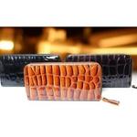 クロコダイル調ジップアップ長財布(ブラック)