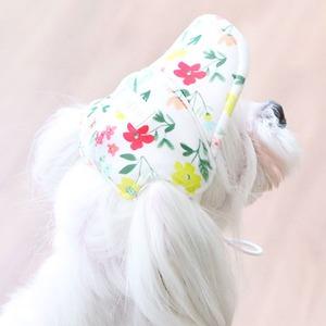 Its Dog(イッツドッグ) ゴーゴーキャップ/ホワイトフラワー【S】 - 拡大画像
