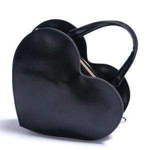 ラブリー♪ツヤあり素材のハート型2Wayハンドバッグ/ブラック - 拡大画像