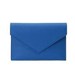 全7色♪整理できるポケット付仕切りが付いたカラフルクラッチバッグ/ブルー - 拡大画像