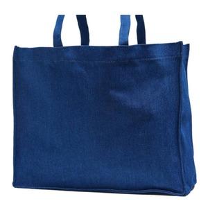 でかっ!エコバッグにも使えるデニム素材のマチ付トートバッグ/ネイビー - 拡大画像