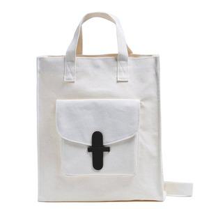マザーズバッグにおススメ♪前ポケット付キャンバストートバッグ/ブラック - 拡大画像