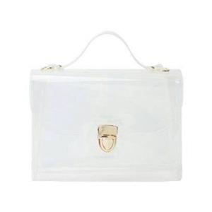 人気のクリアバッグ♪スクエアが可愛いショルダー用チェーン付ハンドバッグ