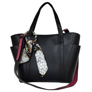 バッグスカーフ付!2wayビジネス&カジュアルトートバッグ/ブラック