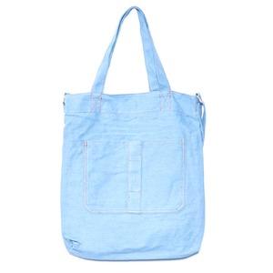 ダブルポケット&ショルダー付キャンパス素材のトートバッグ/デニムブルー