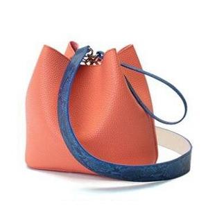 カラフル5色♪柔らか素材の巾着型2Wayショルダーバッグ/オレンジ - 拡大画像