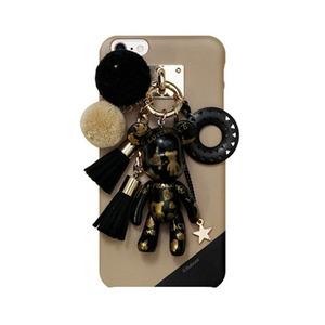 MrH(ミスターエイチ)スマホスキニーケース/ポポベビー ラブ&ピース(ブラック) iphone7 - 拡大画像
