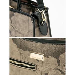 PRIMA CLASSE(プリマクラッセ) PSH8-3144 ファスナー付ポケットがついたデザイントートバッグ/グレイ