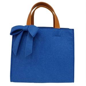 軽量♪フェルト素材の仕切り付リボントートバッグ/ブルー - 拡大画像