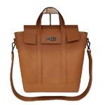 くったり柔らか素材♪スタイリッシュな薄型ビジネスハンドバッグ/キャメル