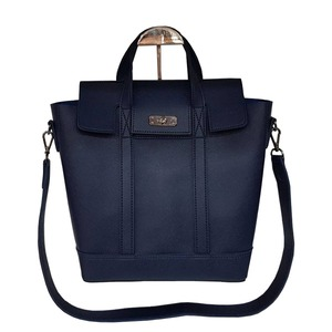 くったり柔らか素材♪スタイリッシュな薄型ビジネスハンドバッグ/ネイビー - 拡大画像