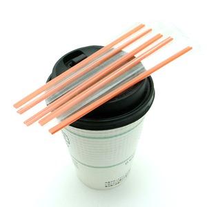個別包装ホットコーヒー用マドラーストロー500本/15cm (レッド) - 拡大画像