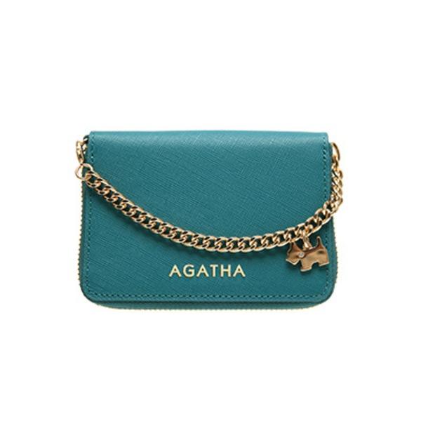 AGATHA(アガタ) AGT194-311 本革仕様 持ち手チェーン付ラウンドジップカードケース/ブルー