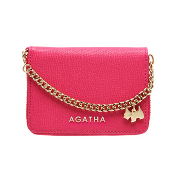 AGATHA(アガタ) AGT194-311 本革仕様 持ち手チェーン付ラウンドジップカードケース/ピンク
