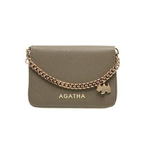 AGATHA(アガタ) AGT194-311 本革仕様 持ち手チェーン付ラウンドジップカードケース/モカベージュ - 拡大画像