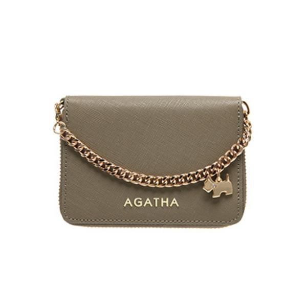 AGATHA(アガタ) AGT194-311 本革仕様 持ち手チェーン付ラウンドジップカードケース/モカベージュ