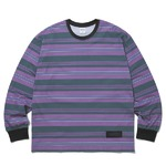 thisisneverthat(ディスイズネバーザット)ストライププリントロングTシャツTN20F0197/#2パープル×グリーン S