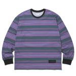 thisisneverthat(ディスイズネバーザット)ストライププリントロングTシャツTN20F0197/#2パープル×グリーン L