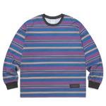 thisisneverthat(ディスイズネバーザット)ストライププリントロングTシャツTN20F0197/#3ブルー×グレイ L