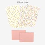 Dailylike(デイリーライク) レターセット(レター用紙4枚、封筒2枚)同柄2個セット/フレッシュフルーツ