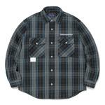 thisisneverthat(ディスイズネバーザット)TN20FSH002 中綿入りフランネルシャツ/ブルー×グレイ XL