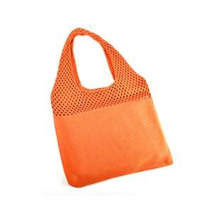 2つのメッシュ素材で編み込んだかご型バッグ/オレンジ - 拡大画像