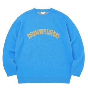 thisisneverthat(ディスイズネバーザット)TN21SKW003ARC ロゴジャガードセーター/ブルー S - 拡大画像