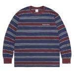 thisisneverthat(ディスイズネバーザット)TN21SLS011 オニキスストライプL/SL長袖Tシャツ バーガンディ×グレイ M